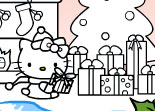 Coloriage de Noël Hello Kitty